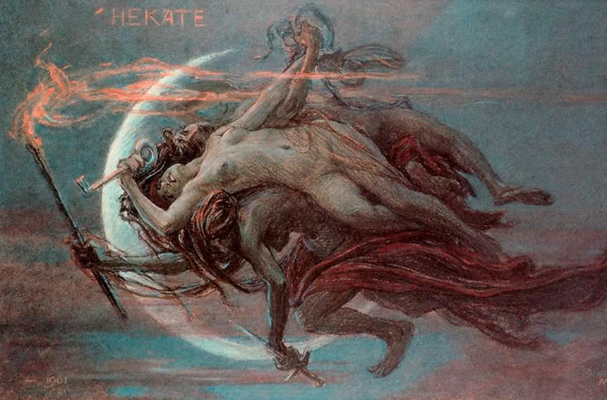 Ecate signora dell'oscurità, protettrice dei cani e della prostituzione