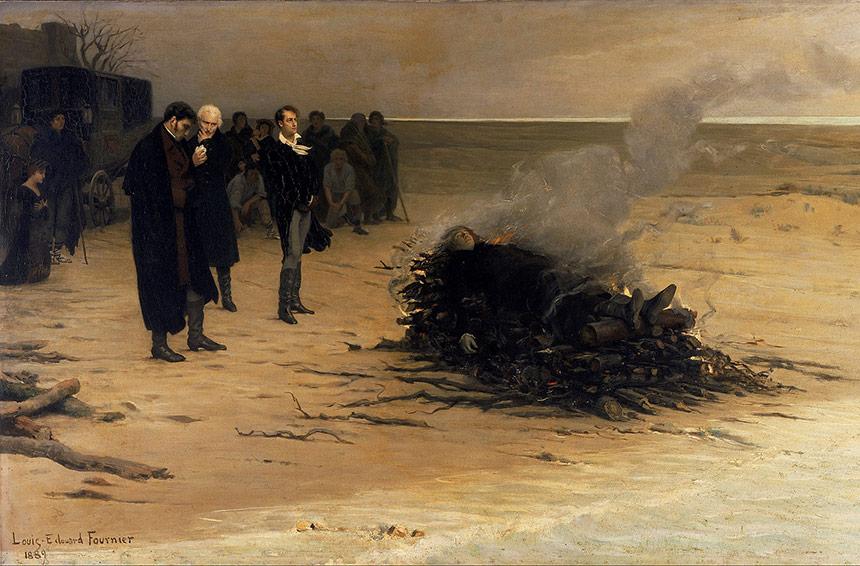Il funerale di Shelley il dipinto che celebra la morte di Percy B. Shelley